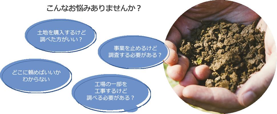 土壌汚染調査 こんなお悩みありませんか?